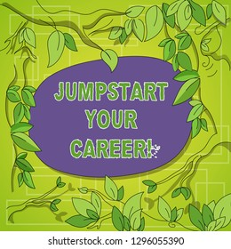 Writing note showing Jumpstart Your Career. Business photo showcasing Make it work successfully after a period of failure Tree Branches Scattered with Leaves Surrounding Blank Color Text Space.