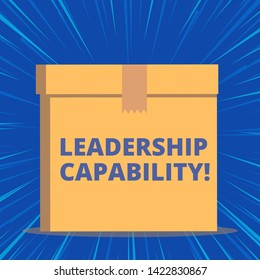 Writing note showing Leadership Capability. Business photo showcasing what a Leader can build Capacity to Lead Effectively Close up front view brown cardboard sealed box lid. Blank background.