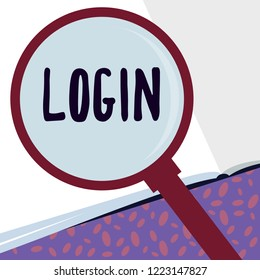 Writing note showing Login. Business photo showcasing Entering website Blog using username and password Registration