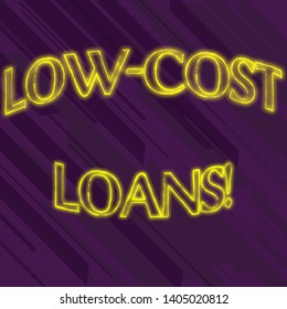 Writing note showing Low Cost Loans. Business photo showcasing loan that has an interest rate below twelve percent Seamless Diagonal Violet Stripe Paint Slanting Line Repeat Pattern.