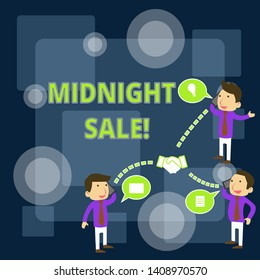Writing note showing Midnight Sale. Business photo showcasing store will be open until midnight with big discount to items Businessmen Coworker Conference Call Discussion Mobile Phone.