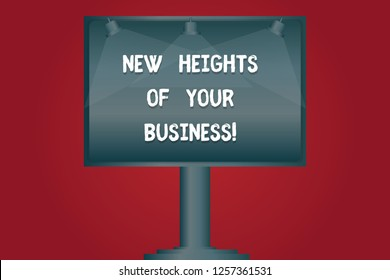Writing note showing New Heights Of Your Business. Business photo showcasing Achieving goals fast growing up company Blank Lamp Lighted Color Signage Outdoor Ads photo Mounted on One Leg.