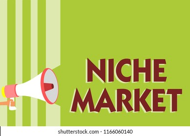 Writing note showing Niche Market. Business photo showcasing Subset of the market on which specific product is focused Megaphone loudspeaker green stripes important message speaking loud.