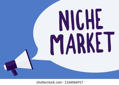 Writing note showing Niche Market. Business photo showcasing Subset of the market on which specific product is focused Megaphone loudspeaker speech bubble important message speaking loud.
