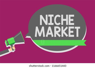 Writing note showing Niche Market. Business photo showcasing Subset of the market on which specific product is focused Man holding megaphone loudspeaker speech bubble message speaking loud.