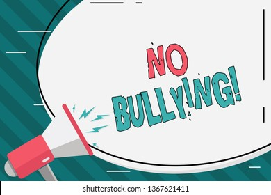 Writing note showing No Bullying. Business photo showcasing stop aggressive behavior among children power imbalance Oval Shape Sticker and Megaphone Shouting with Volume Icon.