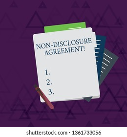Writing note showing Non Disclosure Agreement. Business photo showcasing parties agree not disclose confidential information Lined Paper Stationery Partly into View from Pastel Folder.