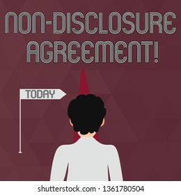 Writing note showing Non Disclosure Agreement. Business photo showcasing parties agree not disclose confidential information Man Facing Distance and Blocking the View of Straight Narrow Path.