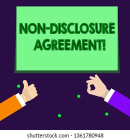 Writing note showing Non Disclosure Agreement. Business photo showcasing parties agree not disclose confidential information Two Businessmen Hands Gesturing the Thumbs Up and Okay Sign.