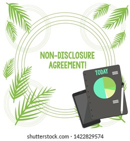Writing note showing Non Disclosure Agreement. Business photo showcasing Legal Contract Confidential Material or Information Layout Smartphone Off Ballpoint Notepad Business Pie Chart.