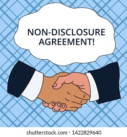 Writing note showing Non Disclosure Agreement. Business photo showcasing Legal Contract Confidential Material or Information Hand Shake Multiracial Male Colleagues Formal Shirt Suit.