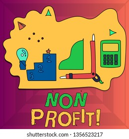 Writing note showing Non Profit. Business photo showcasing not making or conducted primarily to make profit organization Set of Goal Icons for Planning, Advancement and Recognition.