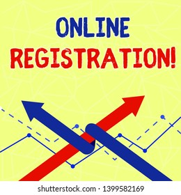 Writing note showing Online Registration. Business photo showcasing registering via the Internet as a user of a product Two Arrows One Intertwined to Other Team Up or Competition.