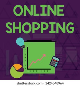 Writing note showing Online Shopping. Business photo showcasing allows consumers to buy their goods over the Internet Investment Icons of Pie and Line Chart with Arrow Going Up.