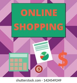 Writing note showing Online Shopping. Business photo showcasing allows consumers to buy their goods over the Internet Dollar Investment in Gold and Presenting Data thru Pie Chart.