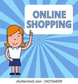 Writing note showing Online Shopping. Business photo showcasing allows consumers to buy their goods over the Internet Woman Standing with Raised Left Index Finger Pointing at Blank Text Box.