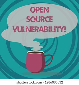 Writing note showing Open Source Vulnerability. Business photo showcasing Publicized Exploits are open to malicious users Mug of Hot Coffee with Blank Color Speech Bubble Steam icon.