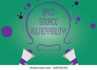 Writing note showing Open Source Vulnerability. Business photo showcasing Publicized Exploits are open to malicious users Two Megaphone and Circular Outline with Small on Color Background.