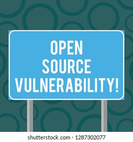 Writing note showing Open Source Vulnerability. Business photo showcasing Publicized Exploits are open to malicious users Blank Outdoor Color Signpost photo with Two leg and Outline.