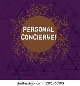 Writing note showing Personal Concierge. Business photo showcasing someone who will make arrangements or run errands Disarrayed Jumbled Musical Notes Icon with Colorful Circle.