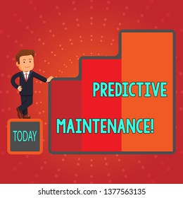 Writing note showing Predictive Maintenance. Business photo showcasing maintenance strategy driven by predictive analytics Businessman Presenting Growth and Success in Graph Columns.