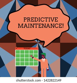 Writing note showing Predictive Maintenance. Business photo showcasing Predict when Equipment Failure condition might occur Businessman Smiling and Pointing Calendar with Star on Wall.