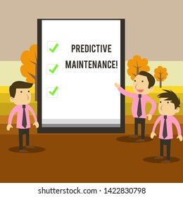 Writing note showing Predictive Maintenance. Business photo showcasing Predict when Equipment Failure condition might occur Business Colleagues Discuss Missions Presentation Whiteboard Ticks.