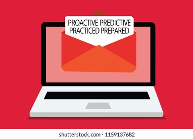 Writing note showing Proactive Predictive Practiced Prepared. Business photo showcasing Preparation Strategies Management Computer receiving email important message envelope with paper virtual.