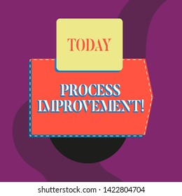Writing note showing Process Improvement. Business photo showcasing Optimization Meet New Quotas Standard of Quality Blank banner rectangle square above semicircle Geometrical background.