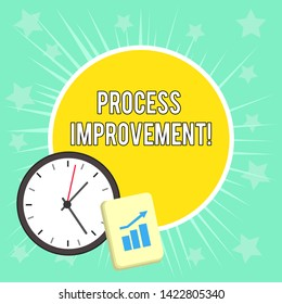 Writing note showing Process Improvement. Business photo showcasing Optimization Meet New Quotas Standard of Quality Layout Wall Clock Notepad with Escalating Bar Graph Arrow.