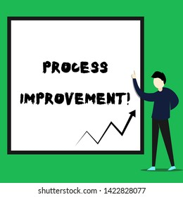 Writing note showing Process Improvement. Business photo showcasing Optimization Meet New Quotas Standard of Quality Young man standing pointing up rectangle Geometric background.