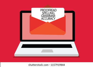 Writing note showing Proofread Spelling Grammar Accuracy. Business photo showcasing Grammatically correct Avoid mistakes Computer receiving email important message envelope with paper virtual.