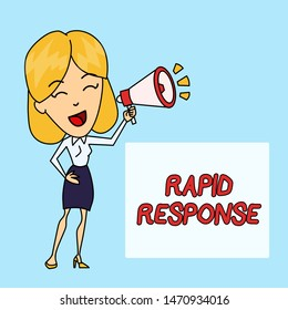 Writing note showing Rapid Response. Business photo showcasing Medical emergency team Quick assistance during disaster Young Woman Speaking in Blowhorn Colored Backgdrop Text Box.
