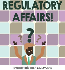 Writing note showing Regulatory Affairs. Business photo showcasing the desire of governments to protect public health Businessman Raising Both Arms with Question Marks Above Head.