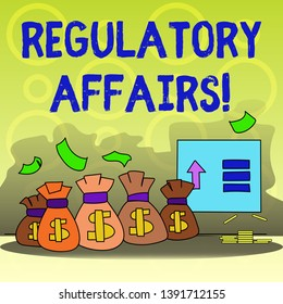 Writing note showing Regulatory Affairs. Business photo showcasing the desire of governments to protect public health Bag with Dollar Currency Sign and Arrow with Blank Banknote.