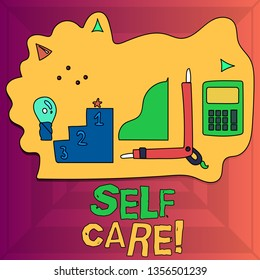 Writing note showing Self Care. Business photo showcasing practice of taking action preserve or improve ones own health Set of Goal Icons for Planning, Advancement and Recognition.