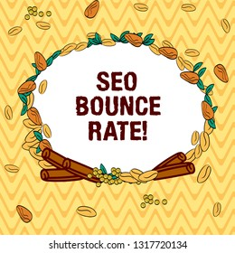 Writing note showing Seo Bounce Rate. Business photo showcasing Search engine optimization visitors navigate off the site Wreath Made of Different Color Seeds Leaves and Rolled Cinnamon photo.
