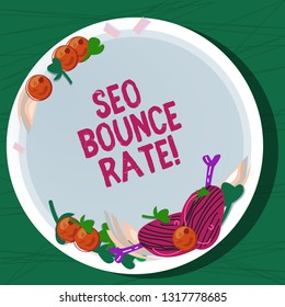 Writing note showing Seo Bounce Rate. Business photo showcasing Search engine optimization visitors navigate off the site Hand Drawn Lamb Chops Herb Spice Cherry Tomatoes on Blank Color Plate.