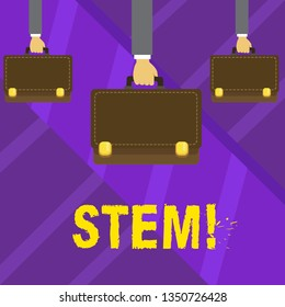 Writing note showing Stem. Business photo showcasing Development destruction of huanalysis embryos for science and research Hands Carrying Brown Briefcase with Running Style and Lock.
