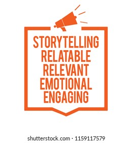 Writing note showing Storytelling Relatable Relevant Emotional Engaging. Business photo showcasing Share memories Tales Megaphone loudspeaker orange frame communicating important information.