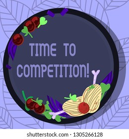 Writing note showing Time To Competition. Business photo showcasing resource and firm that make better use of minutes Hand Drawn Lamb Chops Herb Spice Cherry Tomatoes on Blank Color Plate.