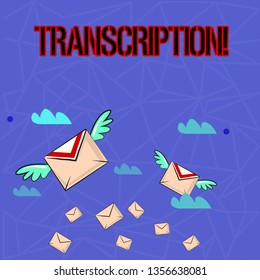 Writing note showing Transcription. Business photo showcasing Written or printed process of transcribing words text voice Colorful Airmail Letter Envelopes and Two of Them with Wings.