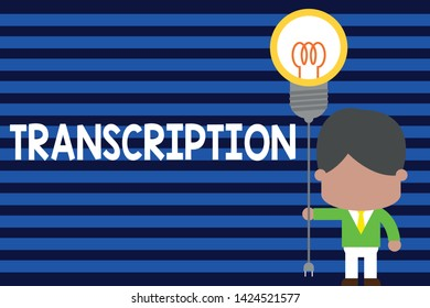 Writing note showing Transcription. Business photo showcasing Written or printed version of something Hard copy of audio Standing man tie holding plug socket light bulb Idea Startup.