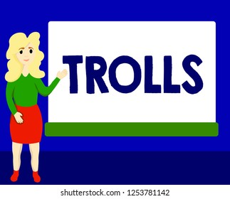 Writing note showing Trolls. Business photo showcasing Internet slang troll person who starts upsets people on Internet