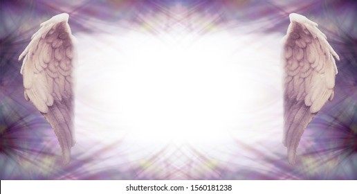 Writing space for your messages to your Angels - blank copy space  notice board with an angel wing on each side and wispy purple pattern frame border