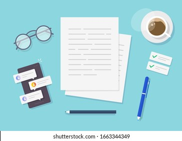 Writing text content on writer work desk table top view or creating essay document or book on workplace flat lay cartoon, illustrated author or editor space with pen, coffee cup modern design image