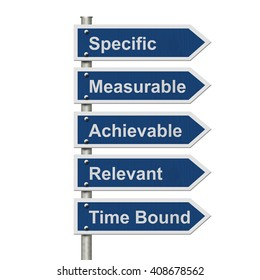 Writing your SMART Goals, Five Blue Road Sign with text listing the SMART Goals isolated over white