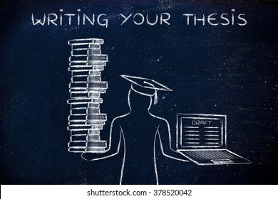 Writing your thesis: graduate students holding a big stack of books and laptop with dissertation draft