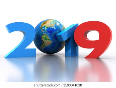 Written in 3D of the new year coming, 2019, colored on a white background