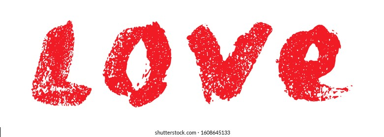 Written word love red lipstick. Hand drawn lettering. Love calligraphy isolated on white background. Word love drawing calligraphy. Decorative element, lettering for design banner, postcard, poster